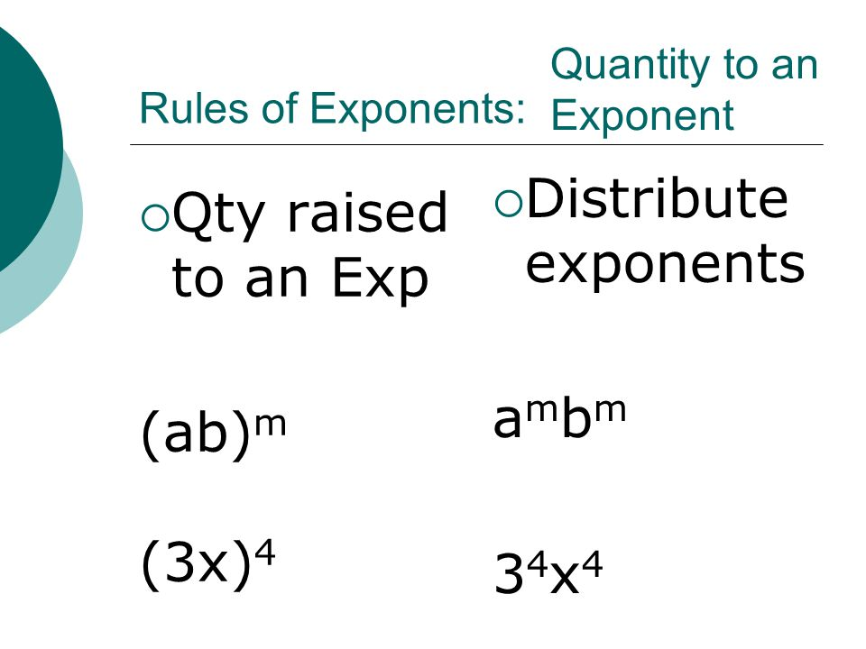 Distribute exponents Qty raised to an Exp ambm (ab)m (3x)4 34x4