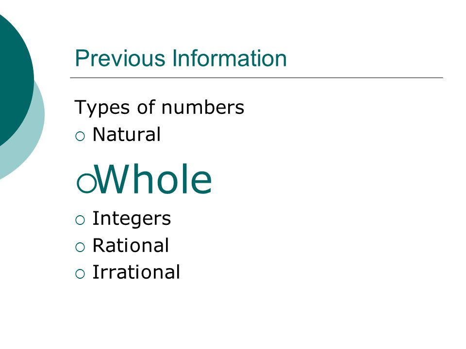 Whole Previous Information Types of numbers Natural Integers Rational