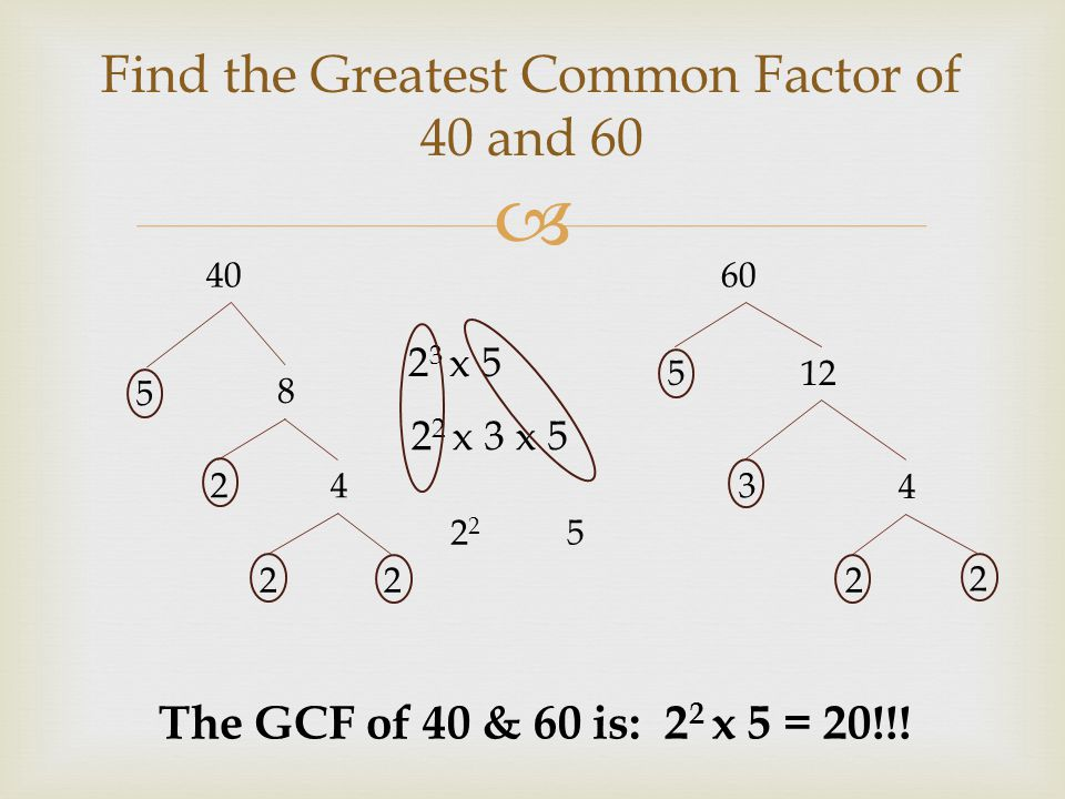 Test to Write Factors and Common Factors of 24 40 and 60 in Venn ...