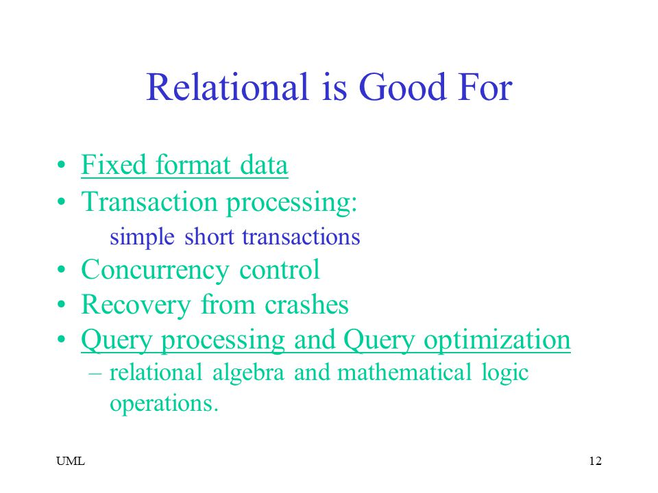 Relational is Good For Fixed format data Transaction processing: