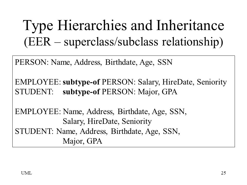 Type Hierarchies and Inheritance (EER – superclass/subclass relationship)