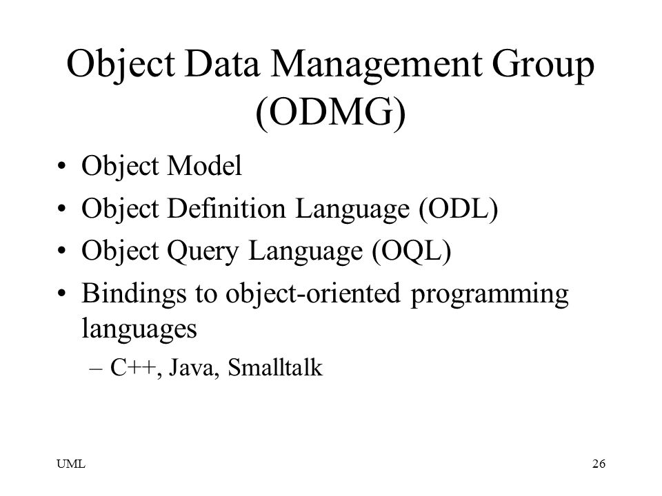 Object Data Management Group (ODMG)