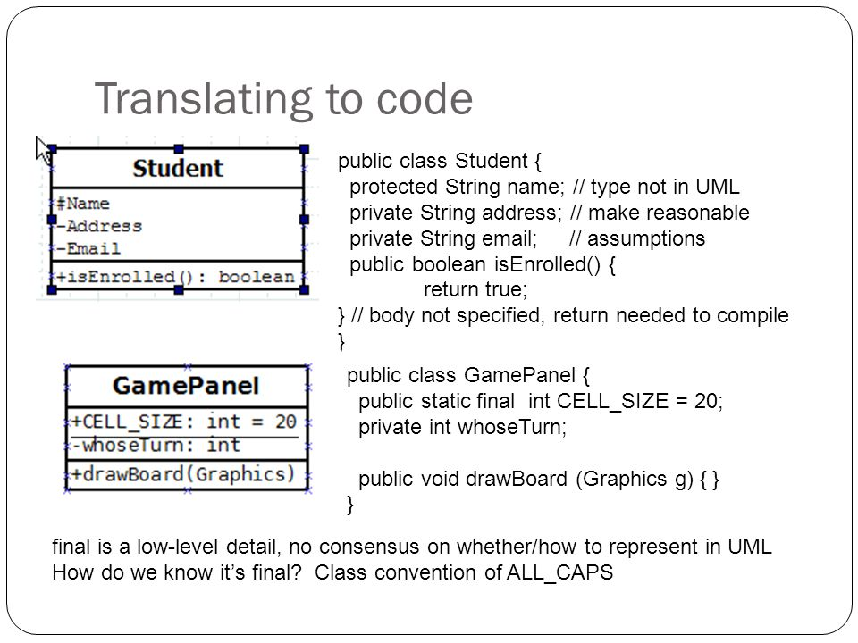 Translating to code public class Student {