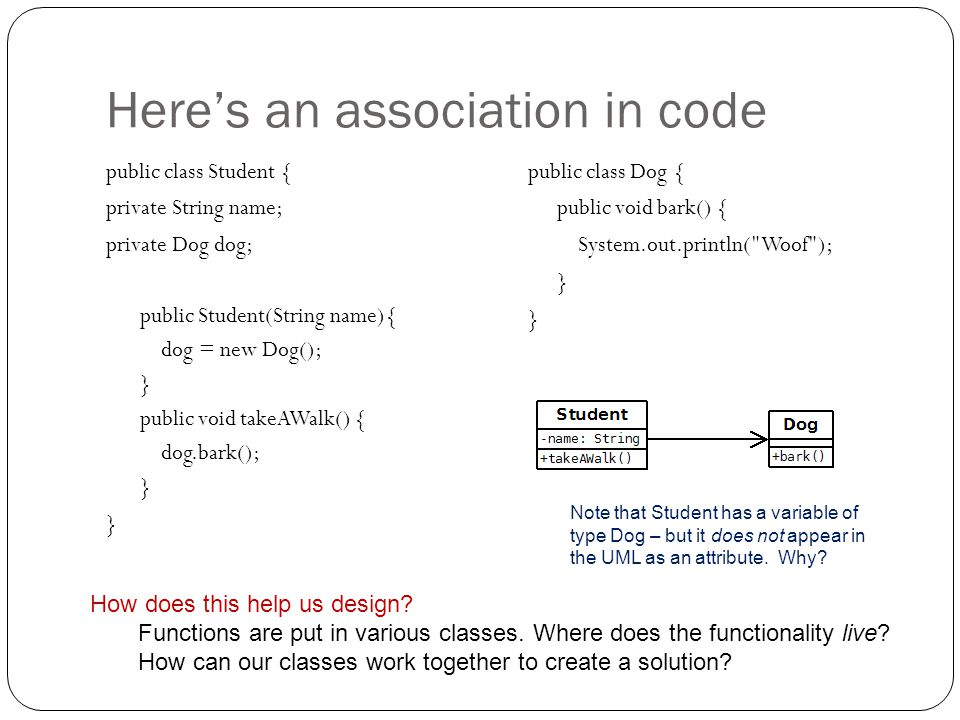Here's an association in code
