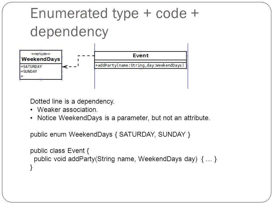 Enumerated type + code + dependency