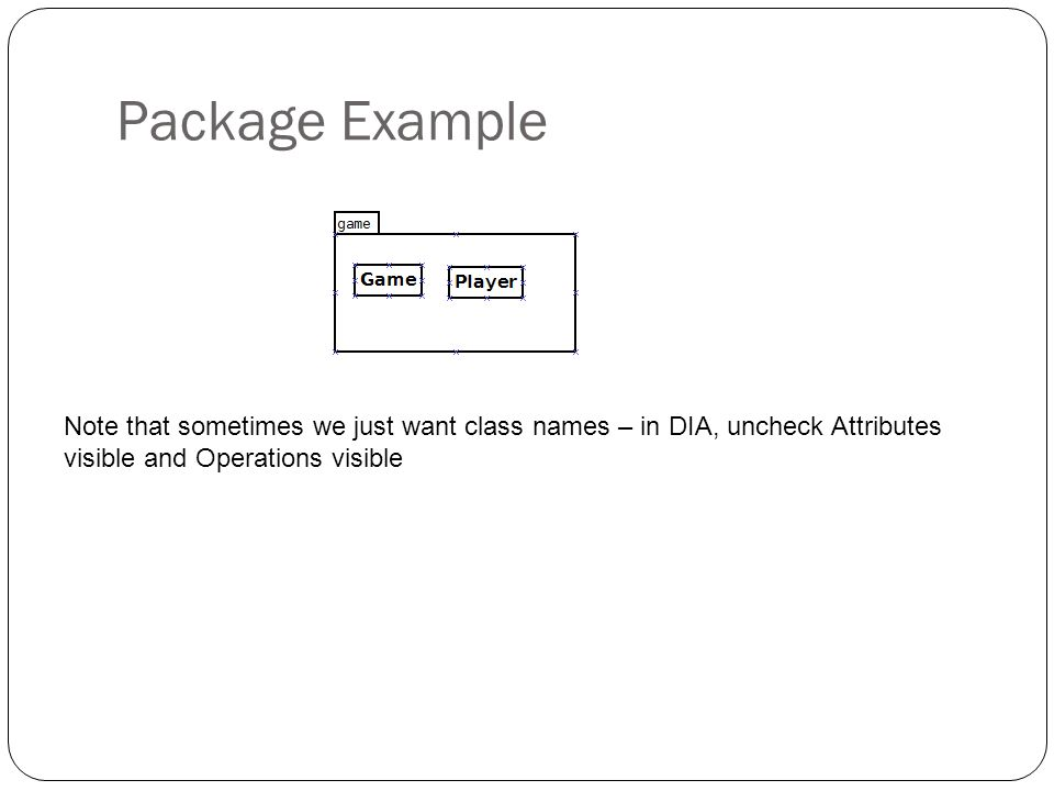 Package Example Note that sometimes we just want class names – in DIA, uncheck Attributes visible and Operations visible.