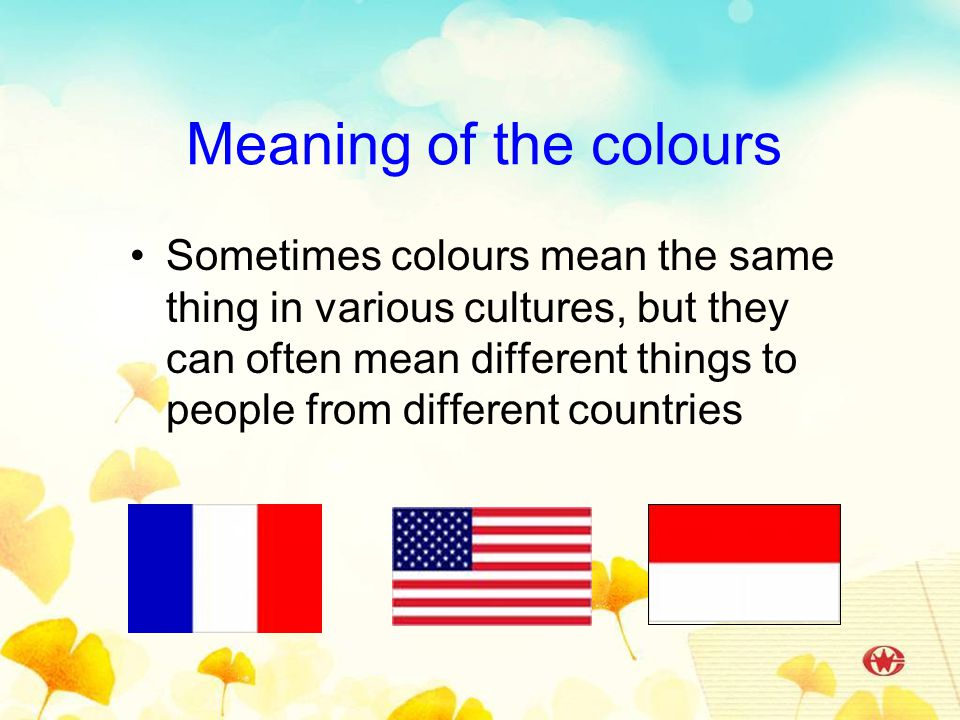 Meaning of the colours