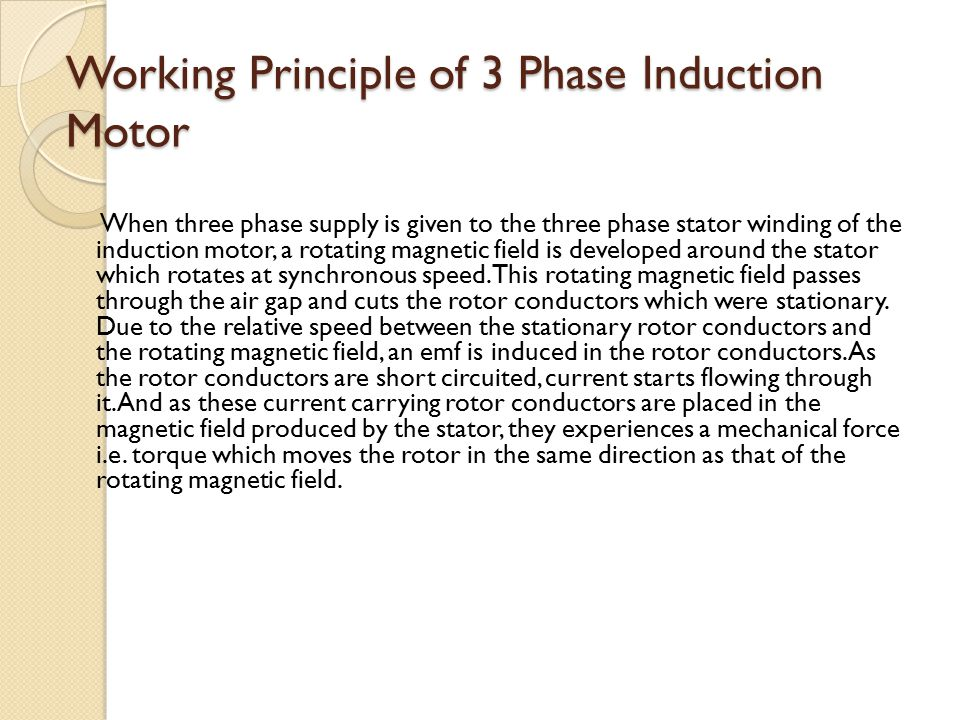 three phase induction motors essay Describe the construction of the following types of three-phase induction motors you may use diagrams to aid your description a single cage b double cage c wound.