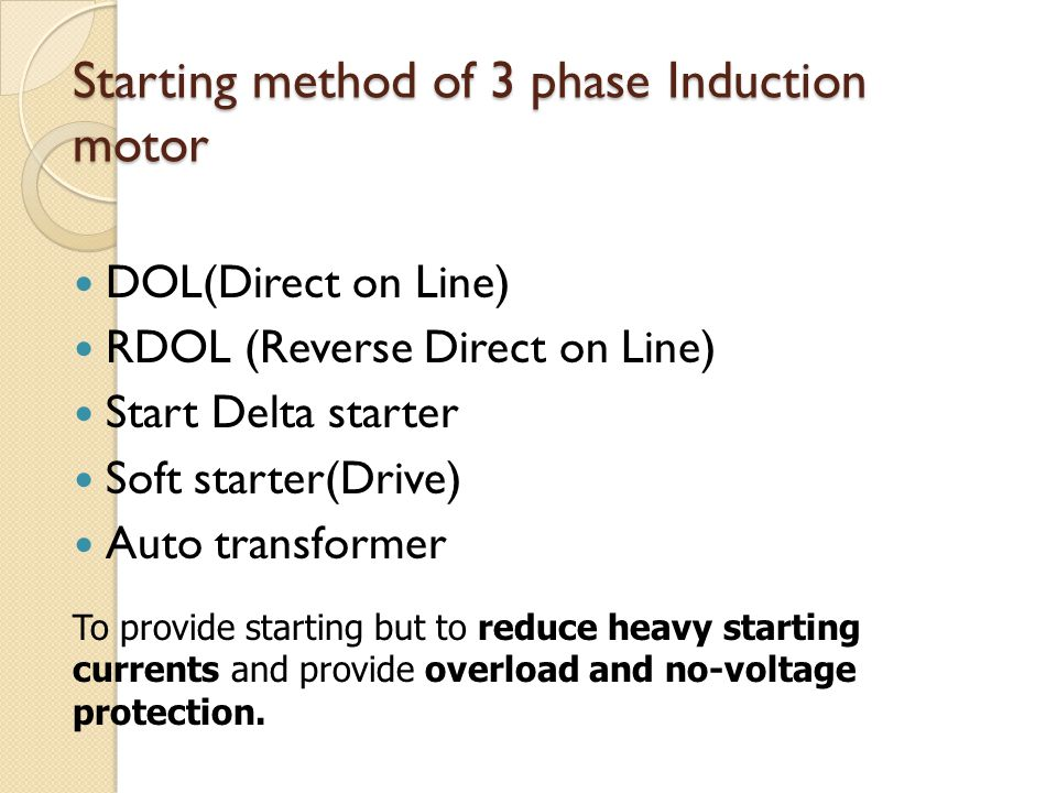 Starting method of 3 phase Induction motor