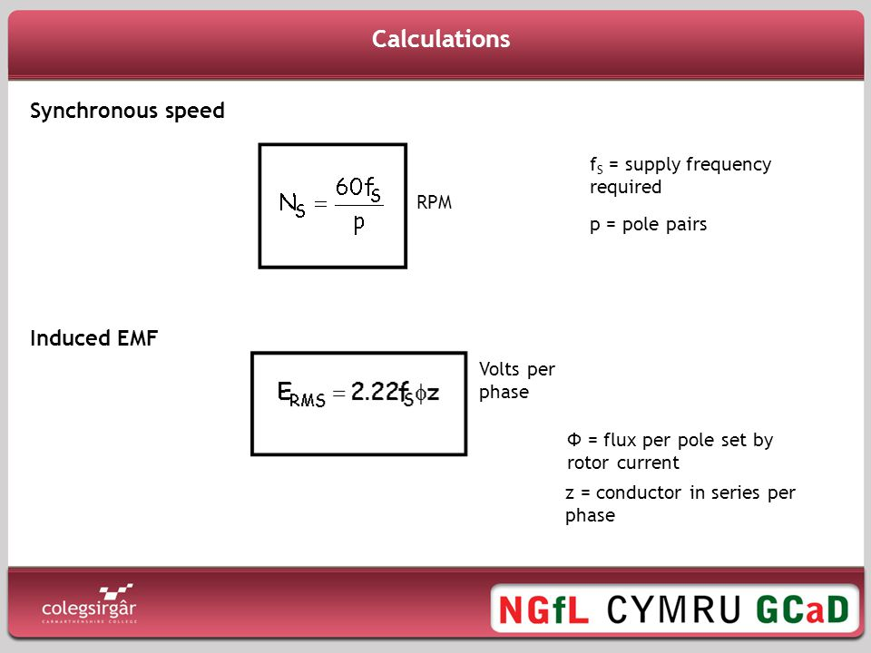 Calculations Synchronous speed Induced EMF