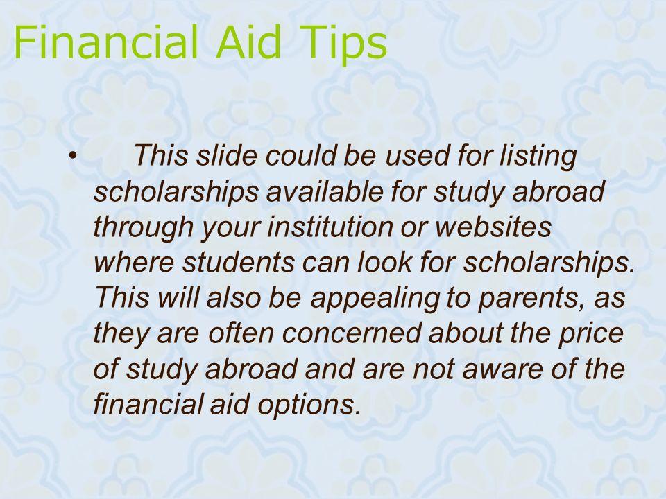 Financial Aid Tips