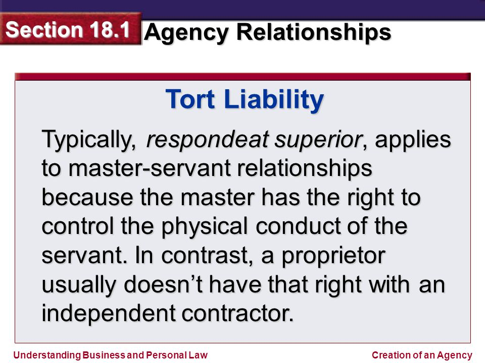 master and servant relationship in tort law