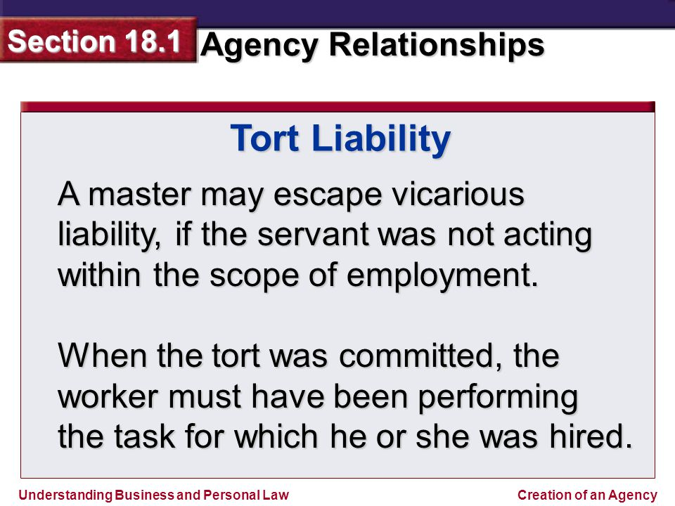 master and servant relationship in tort definition