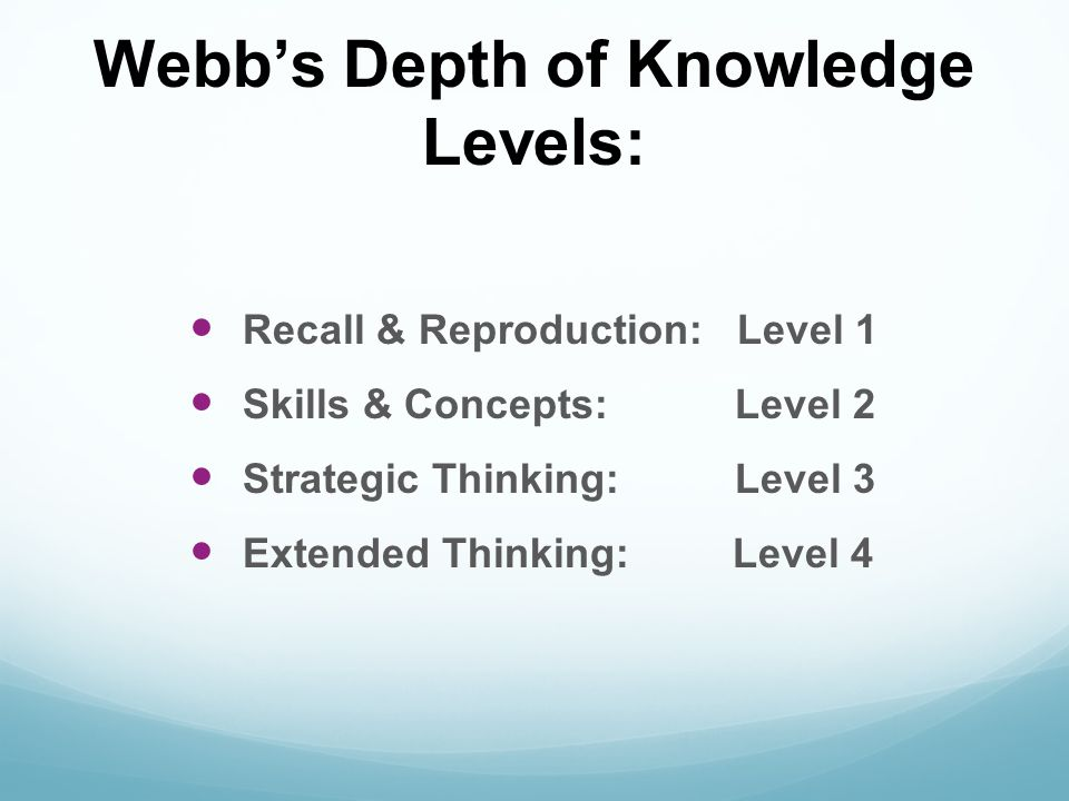 Webb's Depth of Knowledge Levels: