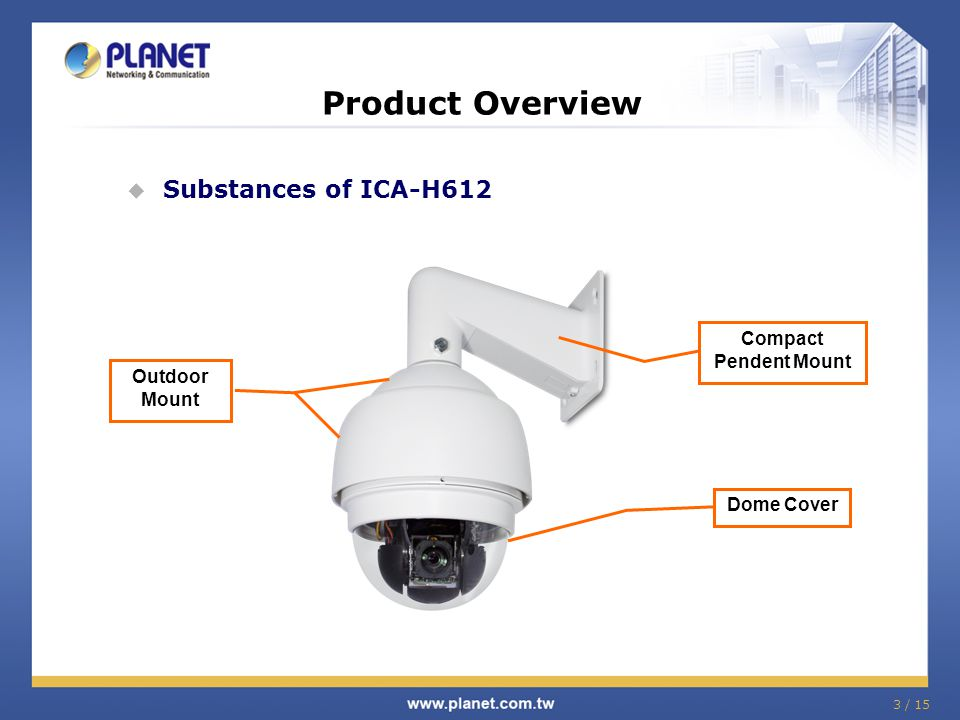 Product Overview Substances of ICA-H612 Compact Pendent Mount