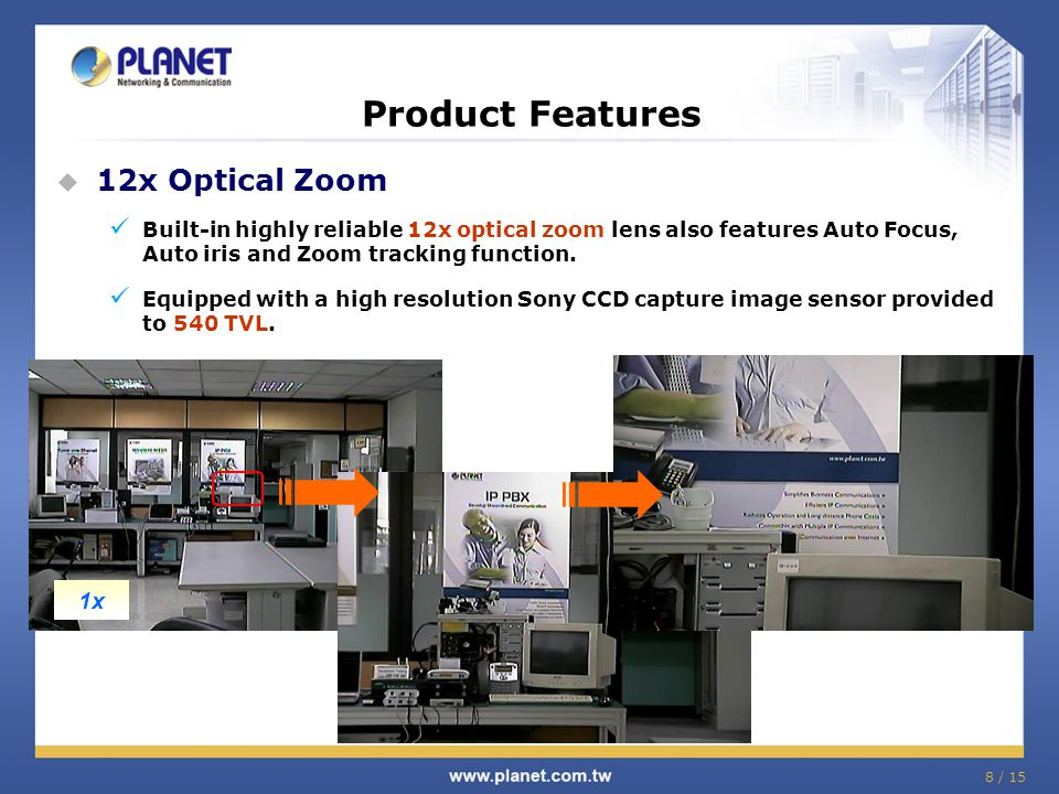 Product Features 12x Optical Zoom 10x 1x 5x