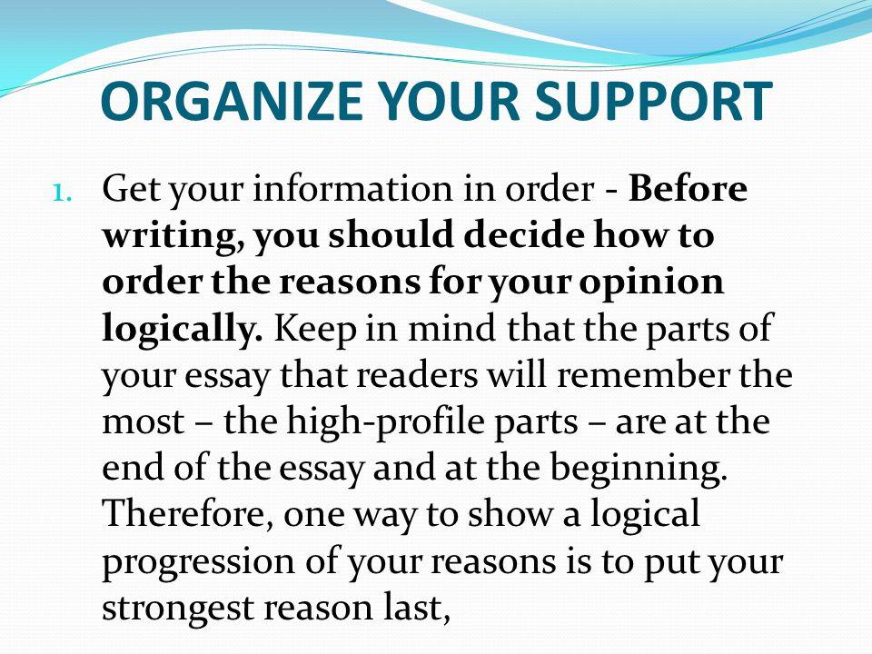 organize information in essay