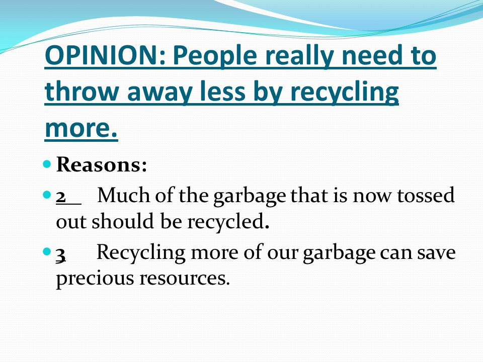 persuasive essay paper recycling Persuasive speech topic: recycle general purpose: to persuade specific purpose: to persuade the audience to recycle 3 recycling preserves natural resources (example) instead of cutting down more trees to produce more paper, the trees can be saved by using old newspapers to make.