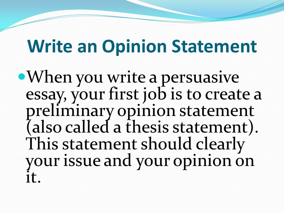 preliminary thesis statements A thesis statement is the central argument of an essay exercises: make the following preliminary thesis statements suitable for a short essay 1.
