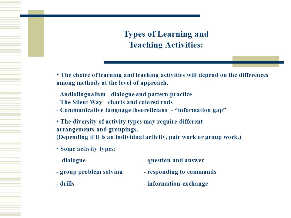 Types of Learning and Teaching Activities:
