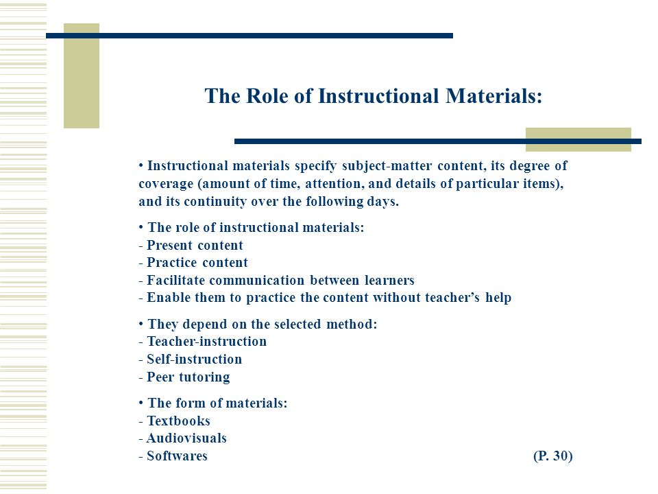 The Role of Instructional Materials: