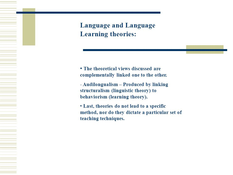 Language and Language Learning theories: