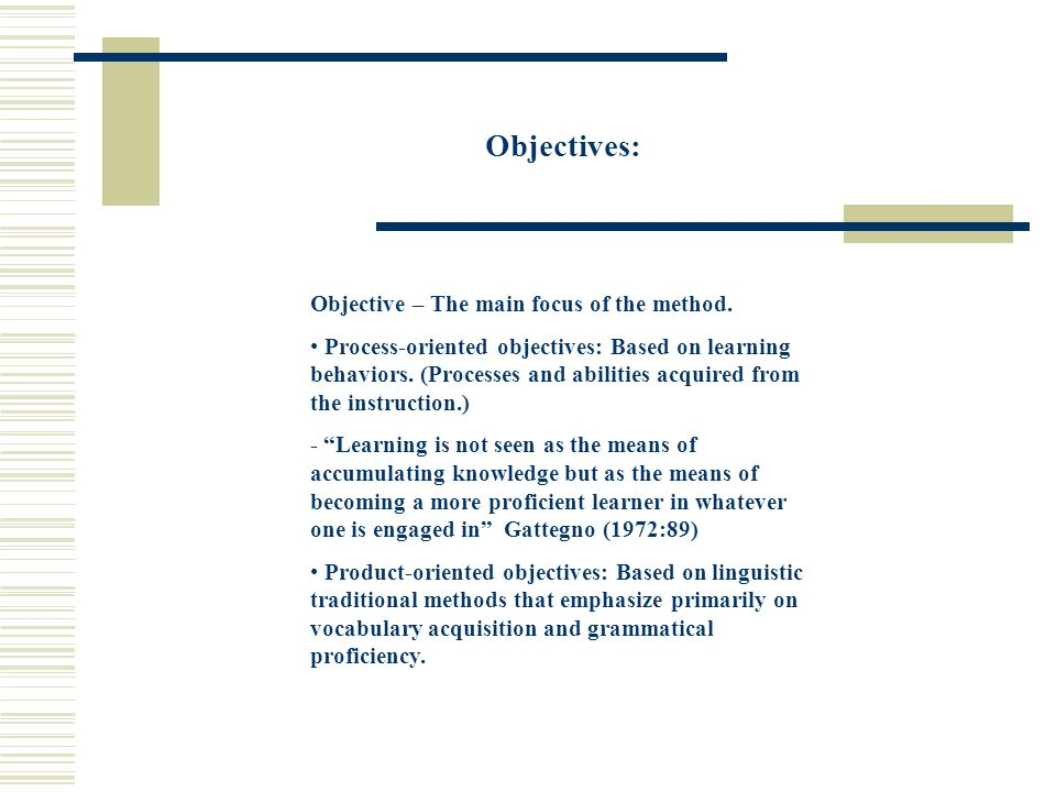 Objectives: Objective – The main focus of the method.