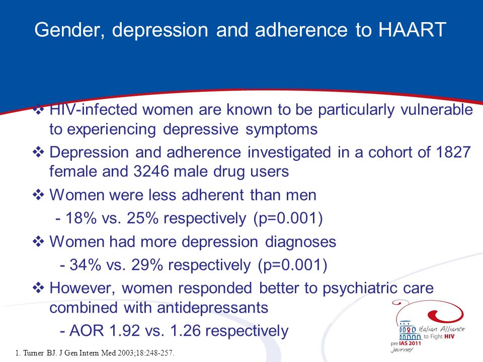 Gender, depression and adherence to HAART