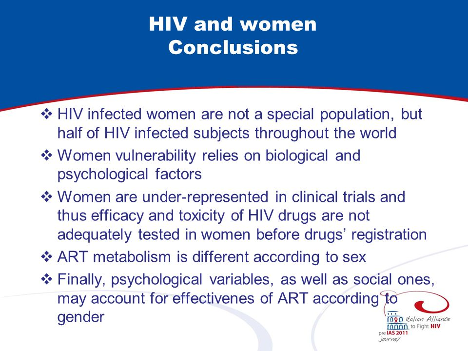 HIV and women Conclusions