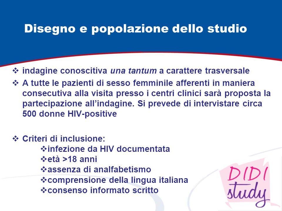 Disegno e popolazione dello studio