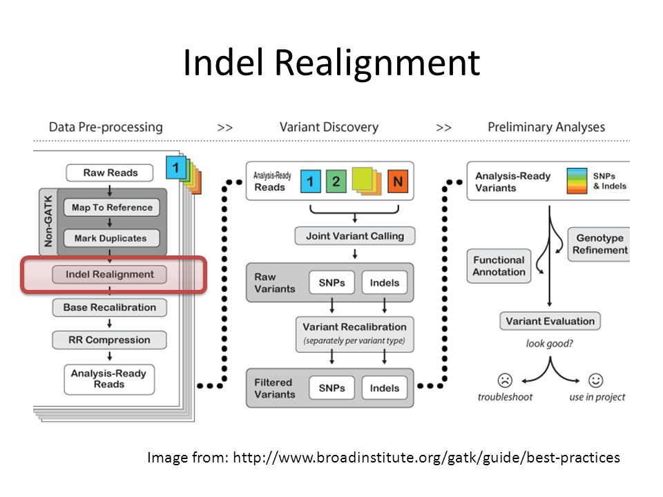 Indel Realignment The first recommended step by GATK is indel realignment.