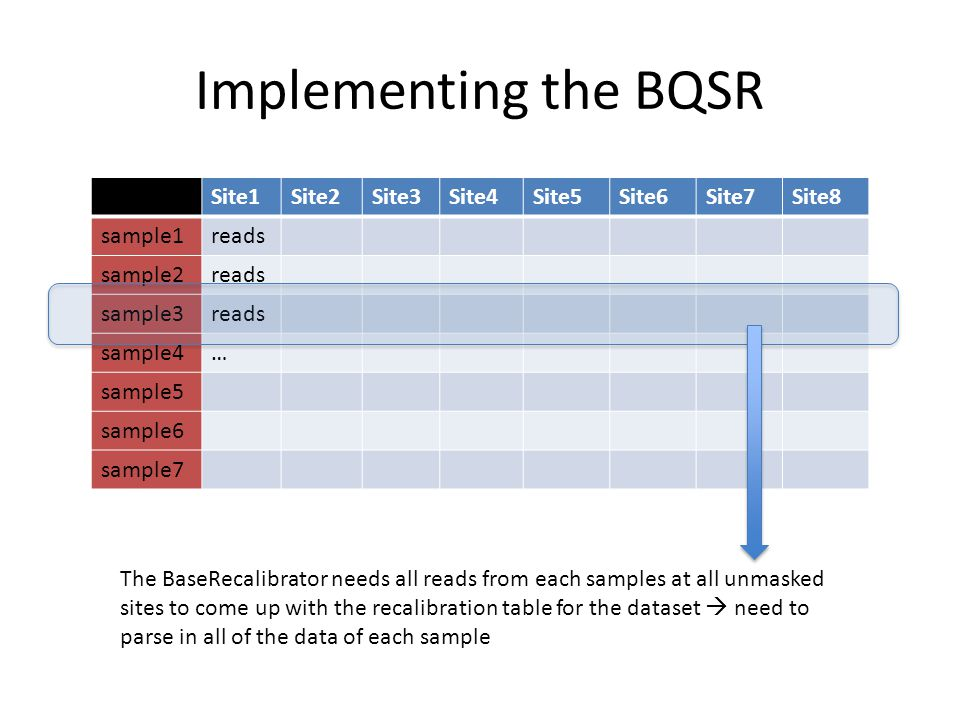 Implementing the BQSR Site1 Site2 Site3 Site4 Site5 Site6 Site7 Site8