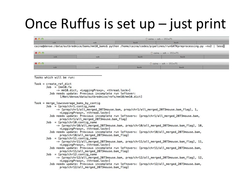 Once Ruffus is set up – just print