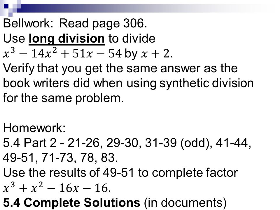 54 notes synthetic division remainder theorem and factor use long division to divide 3 14 ccuart Images
