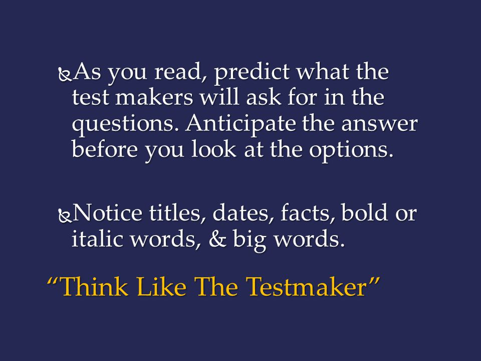 Think Like The Testmaker