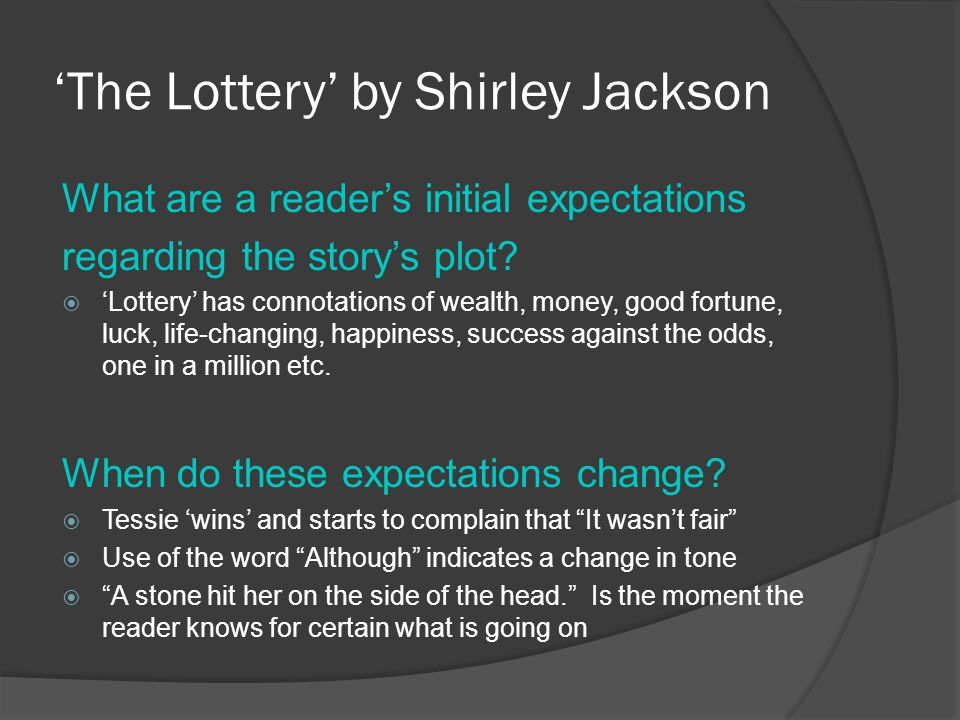 an analysis of the setting in the lottery by shirley jackson Unlike most editing & proofreading services, we edit for everything: grammar, spelling, punctuation, idea flow, sentence structure, & more get started now.