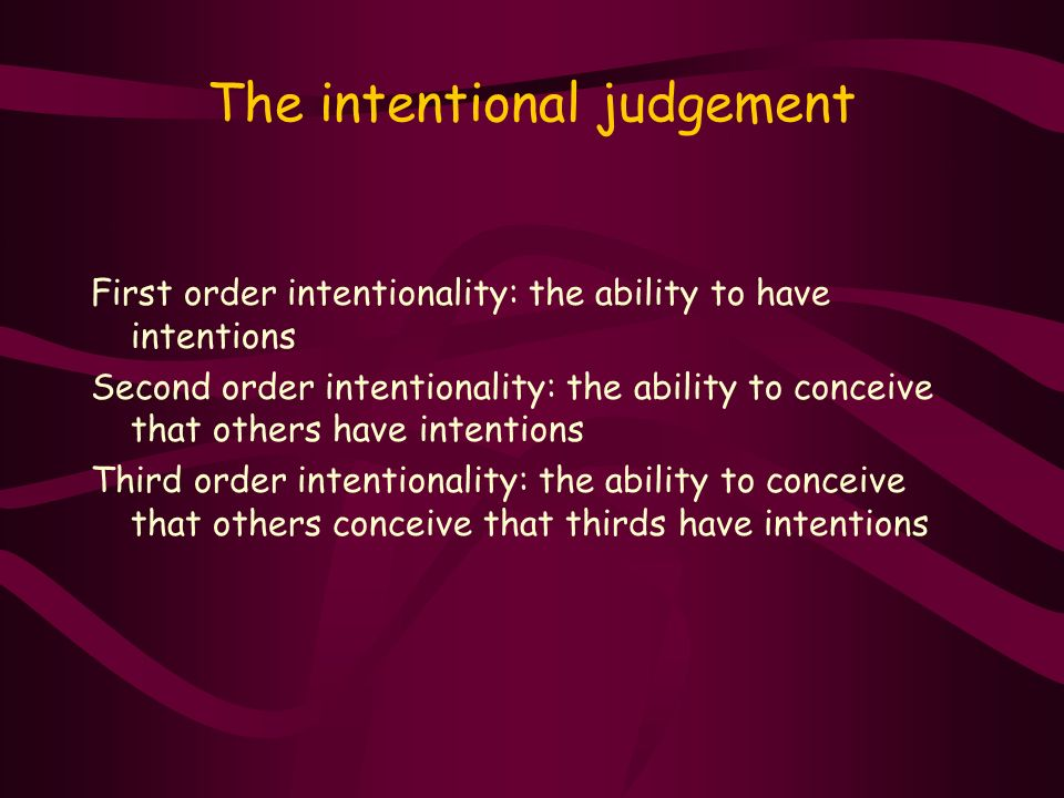 The intentional judgement