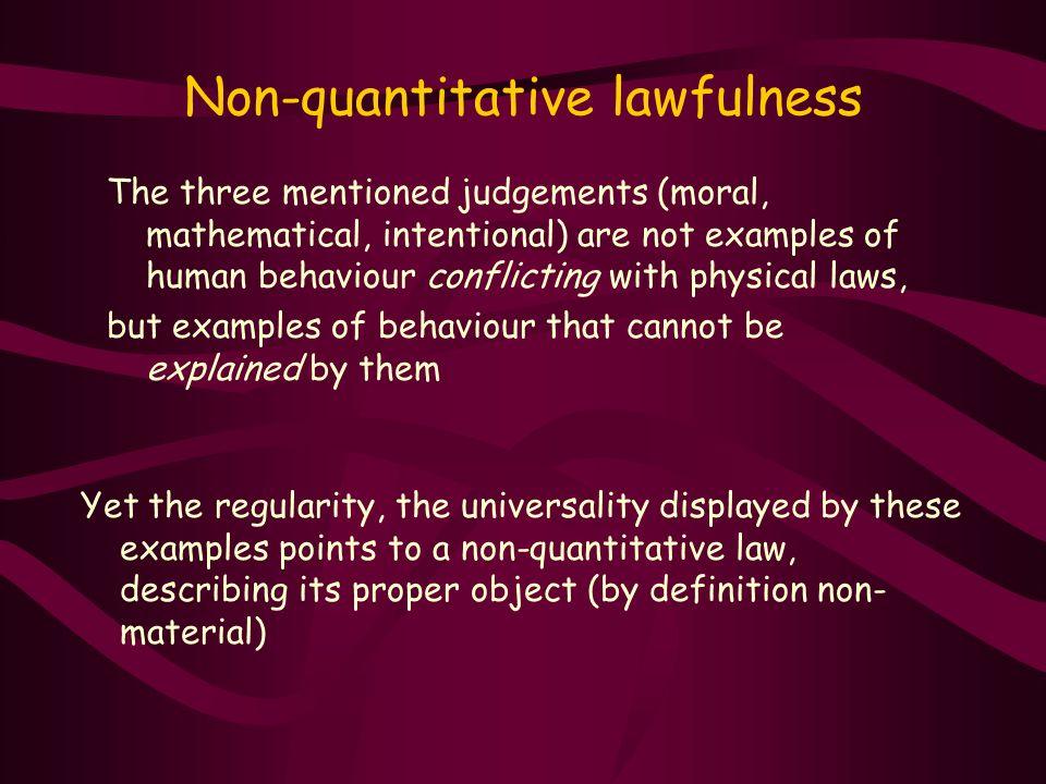 Non-quantitative lawfulness