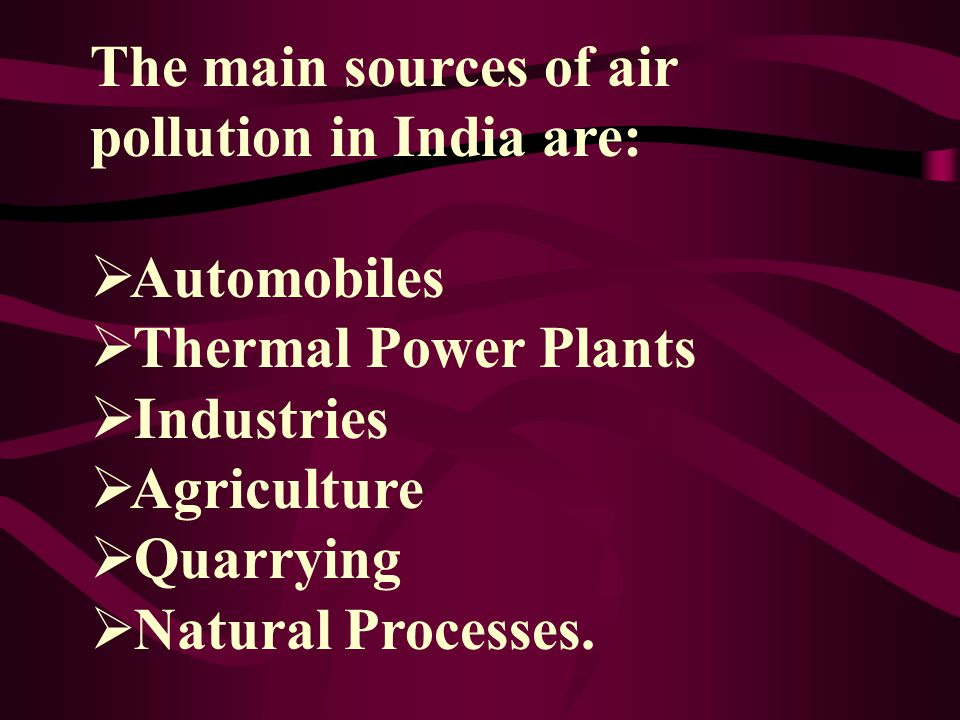 The main sources of air pollution in India are: