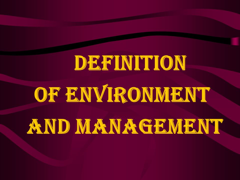 Definition of Environment and Management