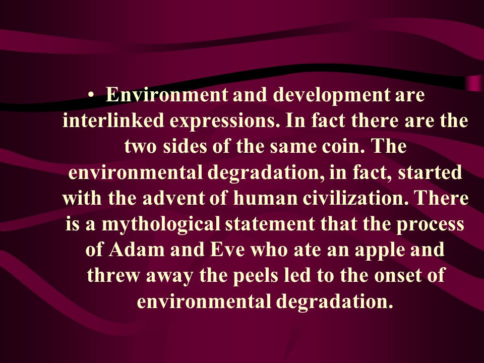 Environment and development are interlinked expressions