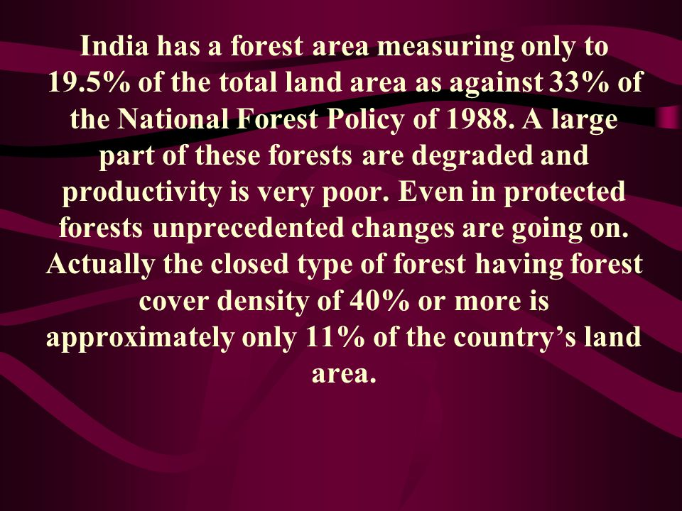India has a forest area measuring only to 19
