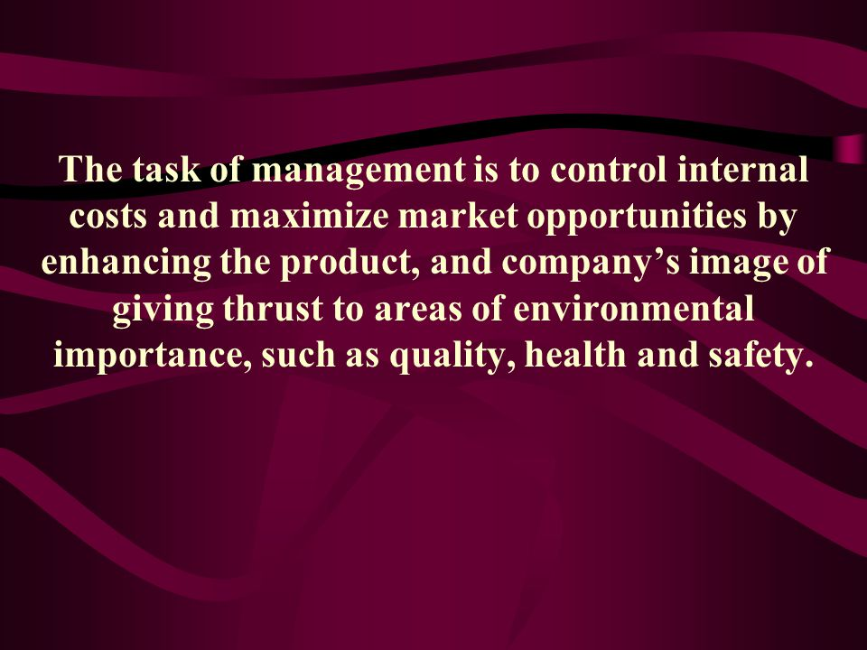 The task of management is to control internal costs and maximize market opportunities by enhancing the product, and company's image of giving thrust to areas of environmental importance, such as quality, health and safety.