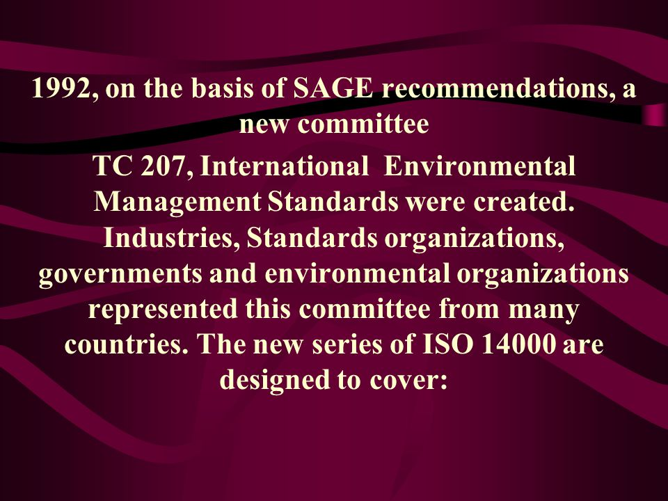 1992, on the basis of SAGE recommendations, a new committee