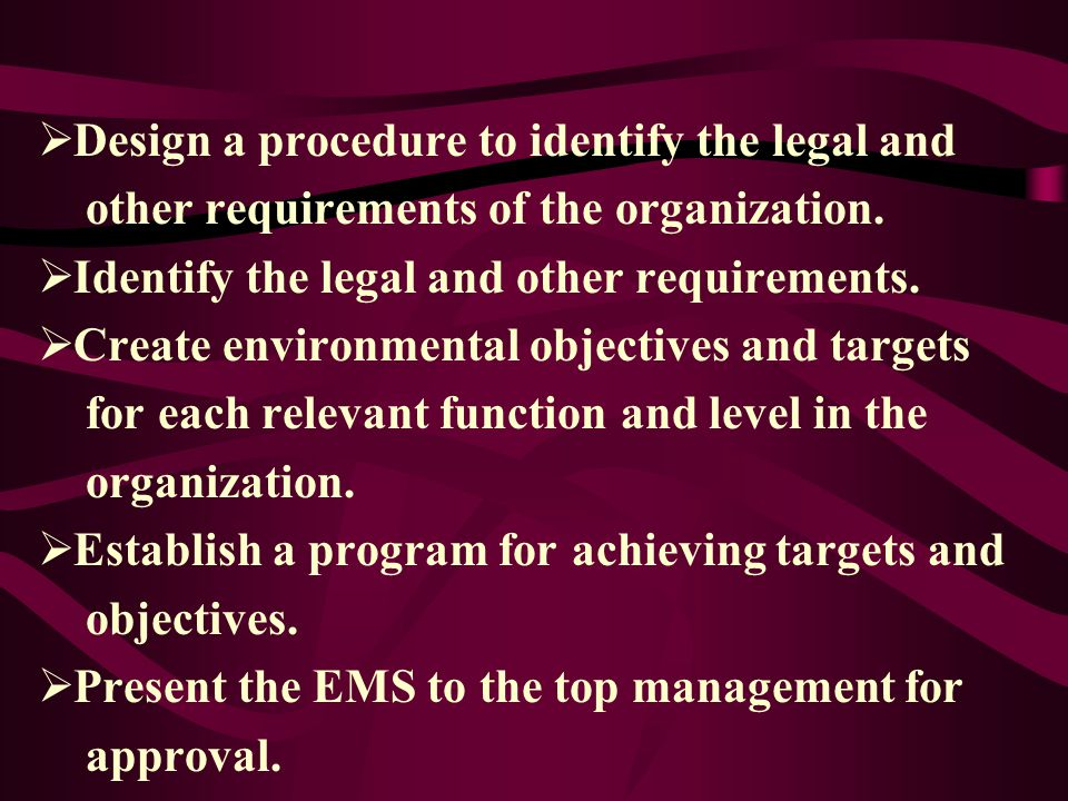 Design a procedure to identify the legal and