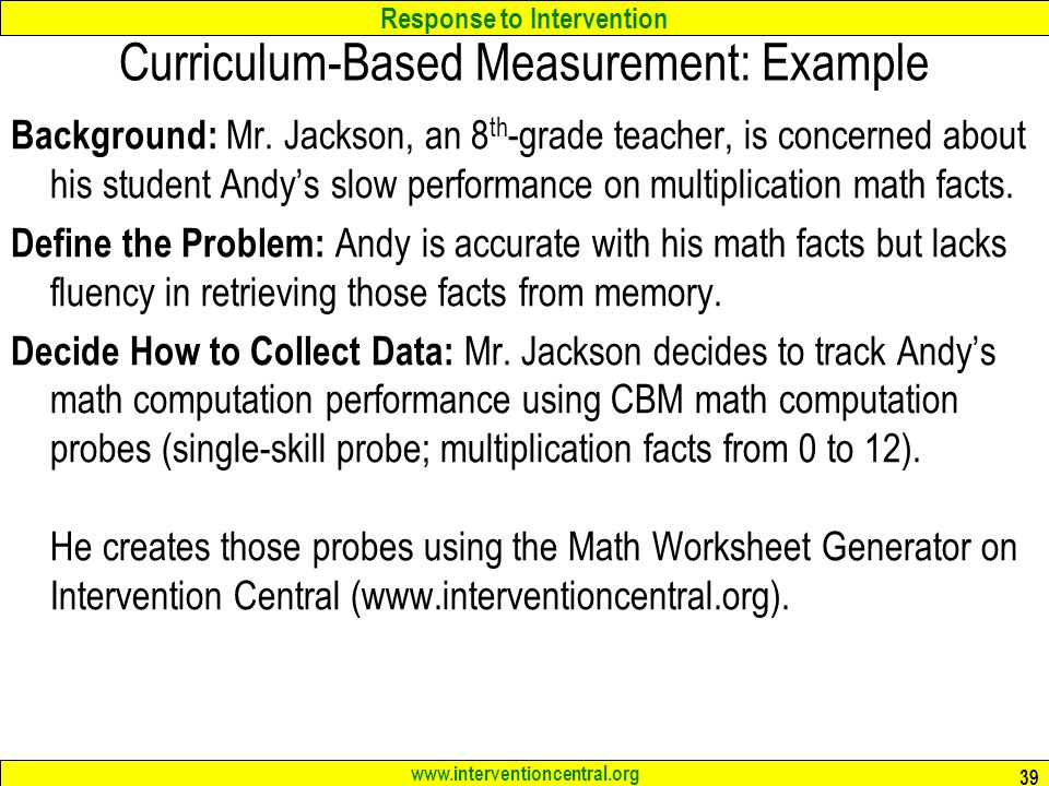 RTI Schoolwide Screening Tools Classroom Data Collection Jim – Intervention Central Math Worksheet Generator