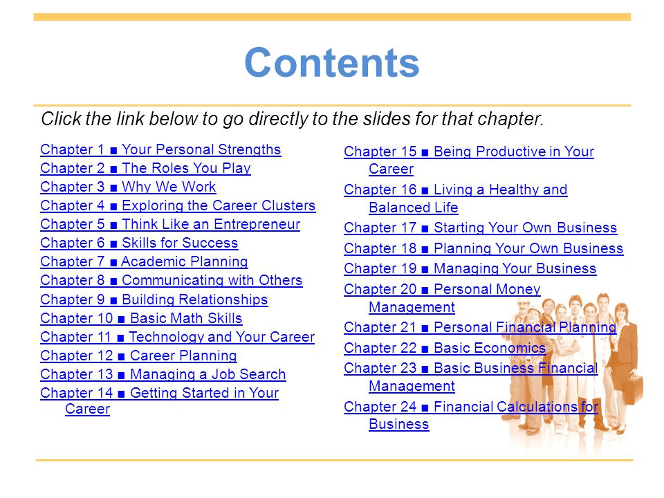 Contents Click the link below to go directly to the slides for that chapter.
