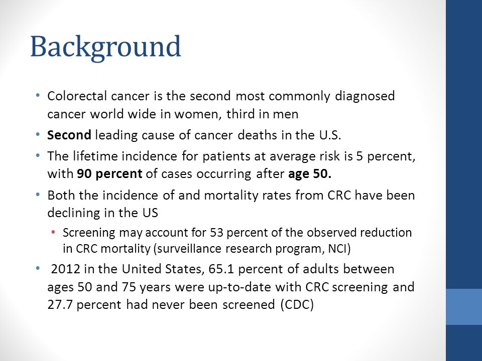 genetic screening for colorectal cancer essay Colorectal cancer affects the colon and rectum it is the second and third leading cause of cancer deaths in women and men, respectively, in the united states.