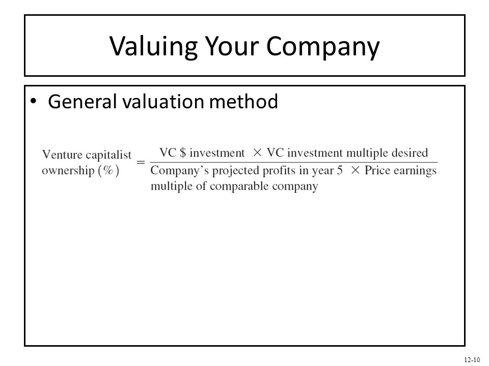 Valuing Your Company General valuation method