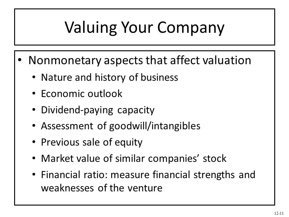 Valuing Your Company Nonmonetary aspects that affect valuation